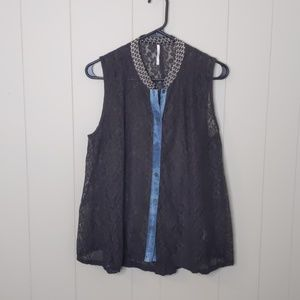 Free People Floral Lace Sleeveless Button Down